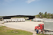April 4, 2012. Durham, NC.. Tractor trailers are lined up to be driven to Montgomery County, NC where the compacted trash is dumped int a private landfill owned by Republic Waste Services.. Photographs of the Durham waste transfer station located at 2115 Eat Club Blvd.