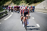 Tim Wellens and Thomas De Gendt (BEL) Lotto-Soudal try to ride across to the break from the peloton during Stage 20 of the 2019 Tour de France running 59.5km from Albertville to Val Thorens, France. 27th July 2019.<br /> Picture: ASO/Pauline Ballet | Cyclefile<br /> All photos usage must carry mandatory copyright credit (© Cyclefile | ASO/Pauline Ballet)