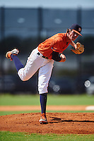 GCL Astros pitcher Forrest Whitley (63) follows through on a pitch during the first game of a doubleheader against the GCL Mets on August 5, 2016 at Osceola County Stadium Complex in Kissimmee, Florida.  GCL Astros defeated the GCL Mets 4-1 in the continuation of a game started on July 21st and postponed due to inclement weather.  (Mike Janes/Four Seam Images)