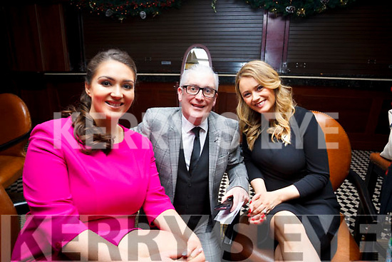 Back stage at the Radio Kerry TalkAbout Christmas Afternoon Tea Party in the Ballygarry House Hotel on Sunday last are, Christene Leahy, Danny Leane and Aislinn O'Sullivan.