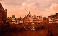Frankfurt: Romerberg mit Burgerschaft bel der Huldigung fur Joseph I.von W.A. Minderhout, 1705. Reference only.