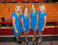 April 16, 2015, Netherlands, Den Bosch, Maaspoort, Fedcup Netherlands-Australia,  Official Dinner, Dutch Team l.t.r.: Kiki Bertens, Richel Hogenkamp, Arantxa Rus and Micha&euml;lla Krajicek<br /> Photo: Tennisimages/Henk Koster