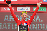 Race leader Simon Yates (GBR) Mitchelton-Scott retains the Red Jersey and also takes over the Combined Jersey at the end of Stage 19 of the La Vuelta 2018, running 154.4km from Lleida to Andorra, Naturlandia, Andorra. 14th September 2018.                   <br /> Picture: Colin Flockton | Cyclefile<br /> <br /> <br /> All photos usage must carry mandatory copyright credit (© Cyclefile | Colin Flockton)