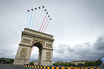The French Acrobatic Team fly over l'Arc de Triomphe during Stage 21 of the 104th edition of the Tour de France 2017, an individual time trial running 1.3km from Montgeron to Paris Champs-Elysees, France. 23rd July 2017.<br /> Picture: ASO/Bruno Bade | Cyclefile<br /> <br /> <br /> All photos usage must carry mandatory copyright credit (&copy; Cyclefile | ASO/Bruno Bade)