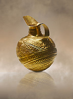 Bronze Age Hattian gold flask from Grave K, possibly a Bronze Age Royal grave (2500 BC to 2250 BC) - Alacahoyuk - Museum of Anatolian Civilisations, Ankara, Turkey. Against a warm art background