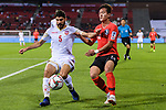 Hamad Mahmood Alshamsan of Bahrain (L) fights for the ball with Hong Chul of South Korea (R) during the AFC Asian Cup UAE 2019 Round of 16 match between South Korea (KOR) and Bahrain (BHR) at Rashid Stadium on 22 January 2019 in Dubai, United Arab Emirates. Photo by Marcio Rodrigo Machado / Power Sport Images