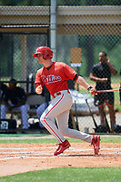 GCL Phillies right fielder Ben Pelletier (26) follows through on a swing during a game against the GCL Tigers East on July 25, 2017 at TigerTown in Lakeland, Florida.  GCL Phillies defeated the GCL Tigers East 4-1.  (Mike Janes/Four Seam Images)