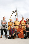 On its historic voyage from Roskilde in Denmark to Dublin in Ireland the ?Sea Stallion fom Glendalough? moored at Clogherhead.  Pictured here with Vikings preparing for Annagassan Viking Day. ...Photo NEWSFILE/Jenny Matthews.(Photo credit should read Jenny Matthews/NEWSFILE)....This Picture has been sent you under the condtions enclosed by:.Newsfile Ltd..The Studio,.Millmount Abbey,.Drogheda,.Co Meath..Ireland..Tel: +353(0)41-9871240.Fax: +353(0)41-9871260.GSM: +353(0)86-2500958.email: pictures@newsfile.ie.www.newsfile.ie.FTP: 193.120.102.198.