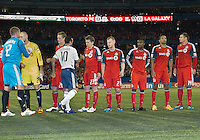 07 March 2012: LA Galaxy forward Landon Donovan #10 shakes hands with the Toronto FC players at the start of a CONCACAF Champions League game between the LA Galaxy and Toronto FC at the Rogers Centre in Toronto..The game ended in a 2-2 draw.