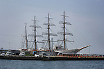 Nippon Maru Tall Sailing Ship in dock in Matsuyama, Ehime on Saturday 19th April, 2014. The Nippon Maru II is a training ship built in 1984 for merchant cadets operated by the National Institute of Sea Training in Japan. (Photo Rod Walters/AFLO)