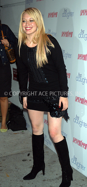 WWW.ACEPIXS.COM *** NO U.K. NEWSPAPERS SALES ***..NEW YORK, SEPTEMBER 22, 2004: Hilary Duff at the New York screening of 'First Daughter.'..Please byline: R. BOCKLET-ACE PICTURES.   ..  ***  ..Ace Pictures, Inc:  ..contact: Alecsey Boldeskul (646) 267-6913 ..Philip Vaughan (646) 769-0430..e-mail: info@acepixs.com