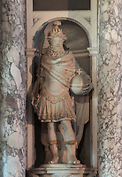 Statue of Charlemagne in the guise of Henri IV, by Francesco Bordoni, 1580-1654, in La Chapelle de la Trinite or the Chapel of the Trinity in the Chateau de Fontainebleau, France. The Palace of Fontainebleau is one of the largest French royal palaces and was begun in the early 16th century for Francois I. It was listed as a UNESCO World Heritage Site in 1981. Picture by Manuel Cohen