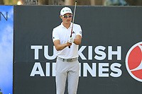 Haotong Li (CHN) prepares to tee off the 17th tee during Sunday's Final Round of the 2018 Turkish Airlines Open hosted by Regnum Carya Golf &amp; Spa Resort, Antalya, Turkey. 4th November 2018.<br /> Picture: Eoin Clarke | Golffile<br /> <br /> <br /> All photos usage must carry mandatory copyright credit (&copy; Golffile | Eoin Clarke)