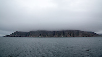 The seabird breeding cliffs of Preobrezhaniya shrouded in fog.