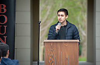 "Leonel Sanchez, Program Manager for Upward Bound.<br /> Upward Bound hosts their annual ""End of the Year"" celebration with participants and their families on May 12, 2018 in the courtyard of Booth Hall. Jimmy Gomez, U.S. Representative for California's 34th congressional district, was the featured speaker at the event.<br /> Upward Bound was established at Occidental College in 1966 and has since served over 2000 first generation, low income students in the Los Angeles region.<br /> (Photo by Marc Campos, Occidental College Photographer)"