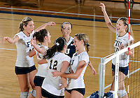 Florida International University women's volleyball players celebrate after the game against Florida Atlantic University.  FIU won the match 3-0 on October 26, 2011 at Miami, Florida. .