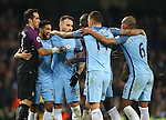 Manchester City players come together to celebrate during the English Premier League match at the Etihad Stadium, Manchester. Picture date: December 18th, 2016. Picture credit should read: Simon Bellis/Sportimage