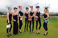 Erica Dundon, Jen Lenihan, Victoria Tynan, Norma O'Donoghue, Margaret Kelleher, Rachel O'Connor and Jasmine Sands from Killarney pictured at Dawn Dairies Queen of Fashion Ladies Day at Killarney Races on Thursday.<br /> Picture by Don MacMonagle