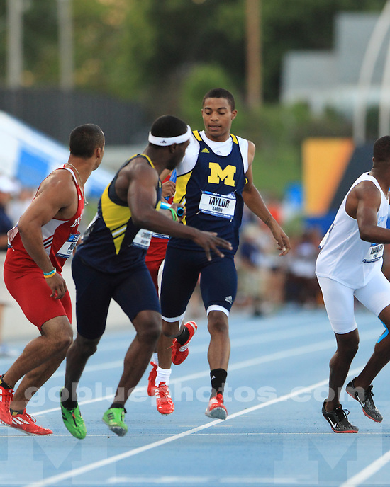 The University of Michigan men's track and field team competed on day 2 of the NCAA Outdoor Championships at Drake Stadium in Des Moines, Iowa, on June 7, 2012.