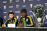 04 December 2015: Columbus forward Kei Kamara (SLE) (right) with Michael Parkhurst (left). Major League Soccer held a press conference two days before MLS Cup 2015 between the Portland Timbers FC and Columbus Crew SC. The Press Conference was held at the Greater Columbus Convention Center in Columbus, Ohio.