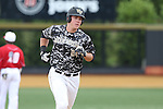 21 May 2016: Wake Forest's Gavin Sheets rounds the bases after hitting a home run. The Wake Forest University Demon Deacons played the University of Louisville Cardinals in an NCAA Division I Men's baseball game at David F. Couch Ballpark in Winston-Salem, North Carolina. Louisville won the game 9-4.