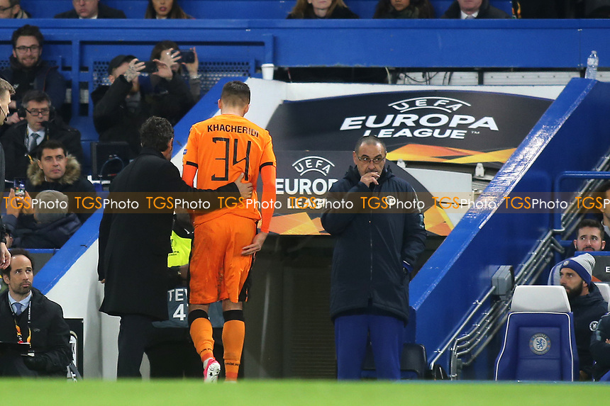 Yevhen Khacheridi of PAOK Salonika heads to the dressing room after receiving a red card during Chelsea vs PAOK Salonika UEFA Europa League Football at Stamford Bridge on 29th November 2018
