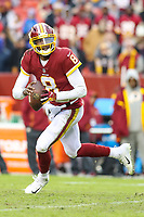 Landover, MD - December 9, 2018: Washington Redskins Josh Johnson (8) scrambles during the  game between New York Giants and Washington Redskins at FedEx Field in Landover, MD.   (Photo by Elliott Brown/Media Images International)