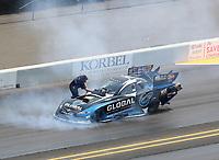 Jul 29, 2018; Sonoma, CA, USA; Crew member for NHRA funny car driver Shawn Langdon during the Sonoma Nationals at Sonoma Raceway. Mandatory Credit: Mark J. Rebilas-USA TODAY Sports