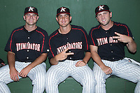 (L-R) Matt Cooper (32), Yelmison Peralta (33) and Hunter Jones (9) pose for a photo prior to the game against the Hagerstown Suns at CMC-Northeast Stadium on July 18, 2015 in Kannapolis, North Carolina.  The Intimidators defeated the Suns 1-0.  (Brian Westerholt/Four Seam Images)