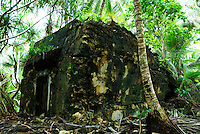 A Japananese bunker from the Pacific War crumbles amongs palm trees on Imej Island, Jaluit Atoll, the Marshall Islands.