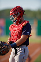 State College Spikes catcher Carlos Soto (28) during a NY-Penn League game against the Batavia Muckdogs on July 3, 2019 at Dwyer Stadium in Batavia, New York.  State College defeated Batavia 6-4.  (Mike Janes/Four Seam Images)