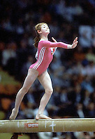 Oksana Omeliantchik of Soviet Union performs on balance beam at 1985 European Championships in women's artistic gymnastics at Helsinki, Finland in late April, 1985.  Photo by Tom Theobald.