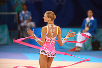 August 23, 2008; Beijing, China; Rhythmic gymnast Olga Kapranova of Russia performs ribbon routine during qualifying round at 2008 Beijing Olympics..(©) Copyright 2008 Tom Theobald