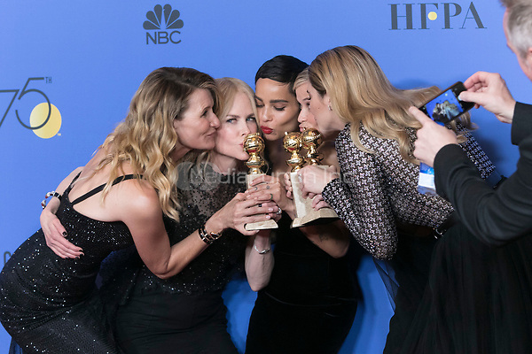Laura Dern, Nicole Kidman, Zoe Kravitz, Reese Witherspoon and Shailene Woodley pose in the press room of the 75th Annual Golden Globe Awards, Golden Globes, at Hotel Beverly Hilton in Beverly Hills, Los Angeles, USA, on 07 January 2018. Photo: Hubert Boesl · NO WIRE SERVICE · Photo: Hubert Boesl/dpa /MediaPunch ***FOR USA ONLY***