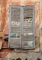 Senegal, Saint Louis.  Old Window Shutters on House from French Colonial Era.