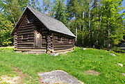 The Fabyan Guard Station along old Jefferson Turnpike (now Old Cherry Mountain Road) in the White Mountains, New Hampshire during the summer months. Built in 1923 by Clifford Graham, it is the last remaining guard station in the White Mountain National Forest. The cabin was built using spruce logs from the surrounding area.