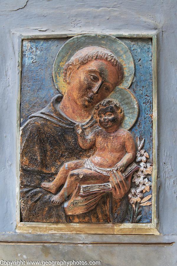 Religious image outside Saint Francis of Assisi Church Valletta, Malta