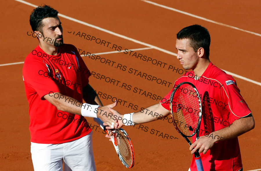 Tenis, DAVIS CUP, World group, first round.SPAIN Vs. SERBIA.Nenad ZImonjic and Viktor Troicki Vs. Tommy Robredo and Feliciano Lopez.Nenad ZImonjic and Viktor Troicki.Benidorm, 03.07.2009..Photo: © Srdjan Stevanovic/Starsportphoto.com