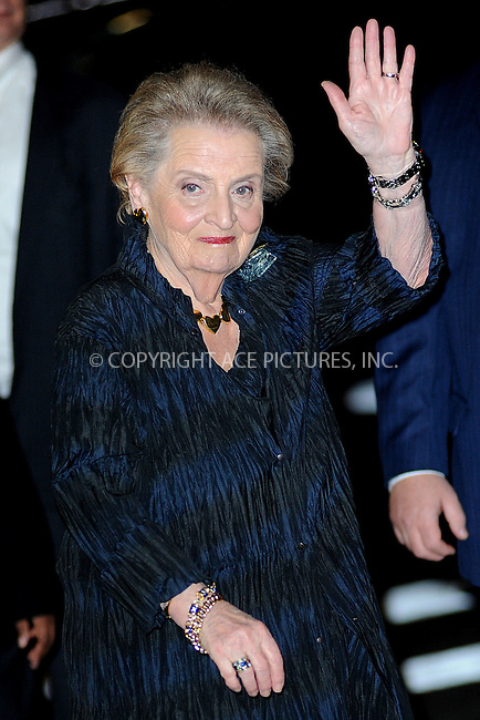 WWW.ACEPIXS.COM<br /> November 9, 2015 New York City<br /> <br /> Madeleine Albright is seen outside Carnegie Hall on November 9, 2015 in New York City.<br /> <br /> Credit: Kristin Callahan/ACE<br /> <br /> Tel: (646) 769 0430<br /> e-mail: info@acepixs.com<br /> web: http://www.acepixs.com