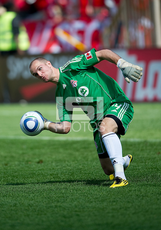 05 June 2010: Toronto FC goalkeeper Stefan Frei #24 clears a ball during a game between the Kansas City Wizards and Toronto FC at BMO Field in Toronto..The game ended in a 0-0 draw.