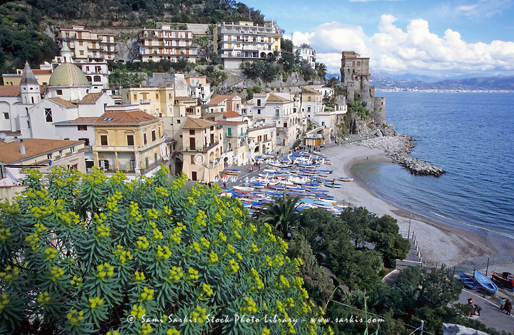 The coastal village of Cetara built on the coastal cliffs of the Tyrrhenian Sea, Italy.