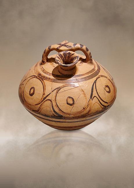 Minoan decorated stirrup jar, Malia Palace 1600-1450 BC; Heraklion Archaeological  Museum.