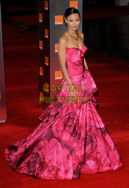 THANDIE NEWTON .2011 Orange British Academy Film Awards (Baftas) at The Royal Opera House, London, England, UK,.February 13th, 2011..arrivals full length pink strapless dress print long maxi gathered floral .CAP/CAN.©Can Nguyen/Capital Pictures.