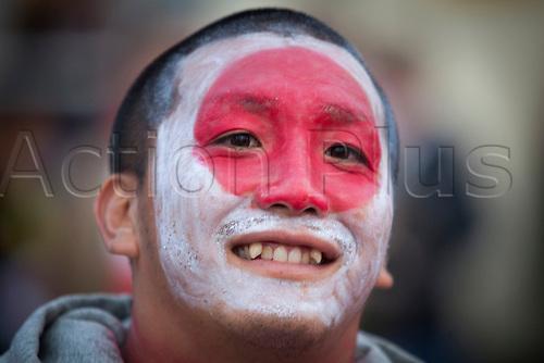 11.10.2015. Kingsholm Stadium, Gloucester, England. Rugby World Cup. USA versus Japan. A Japan fan pictured outside Kingsholm Stadium before kick-off.