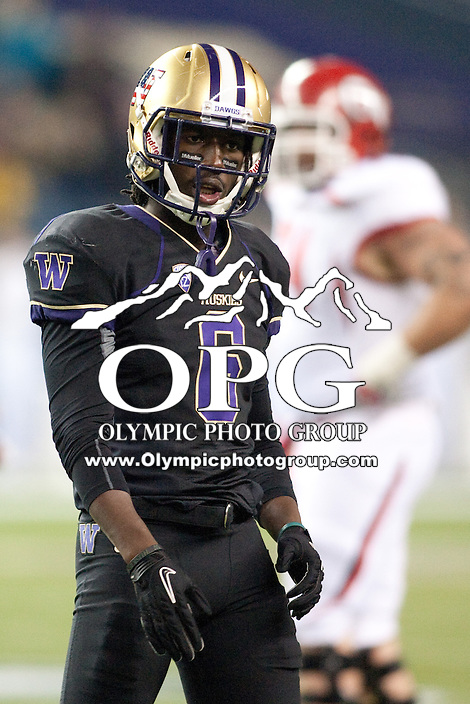 NOV 10, 2012:  Washington's Desmond Trufant against Utah.  Washington defeated Utah  34-15 at CenturyLink Field in Seattle, WA...