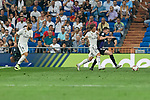 Real Madrid's Karim Benzema (l) and Luka Modric (r) and CD Leganes's Javier Eraso during La Liga match. September 01, 2018. (ALTERPHOTOS/A. Perez Meca)