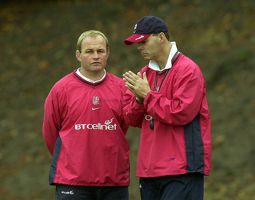 Photo Ken Brown.9.10.2000 England training at Bagshot Surrey.Andy Robinson and Clive Woodward get together