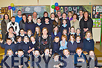 Elizabeth O'Mahony seated centre got a great send off on her retirement as deputy principal from Pupils, friends and colleagues on her last day at school in Douglas NS, Killorglin on Friday.