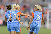 Houston, TX - Saturday July 16, 2016: Cari Roccaro, Denise O'Sullivan, Rachel Daly celebrates scoring during a regular season National Women's Soccer League (NWSL) match between the Houston Dash and the Portland Thorns FC at BBVA Compass Stadium.