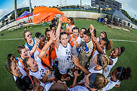 MIAMI, FL - AUGUST 20:  FIU Defender Gabby Bovo (22) attempts to fire up the team prior to the match as the University of Miami Hurricanes defeated the FIU Golden Panthers, 2-0, on August 20, 2017, at University Park Stadium in Miami, Florida.